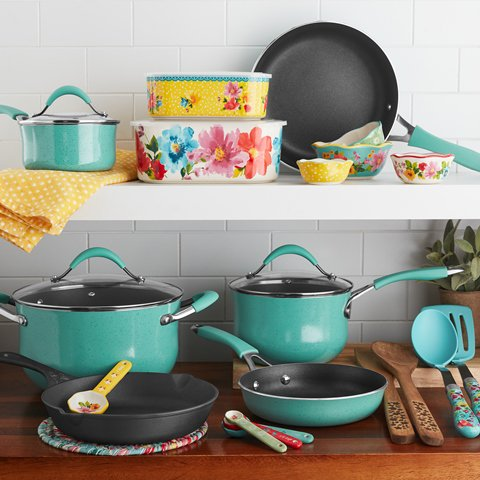 The Pioneer Woman 25-Piece Nonstick & Cast Iron Cookware Combo Set Only $69 +FREE SHIPPING!