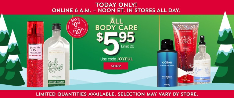 Today Only! All Bath & Body Works Body Care Only $5.95