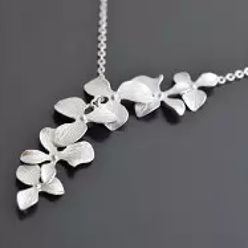 Lariat Orchid Silver Necklace