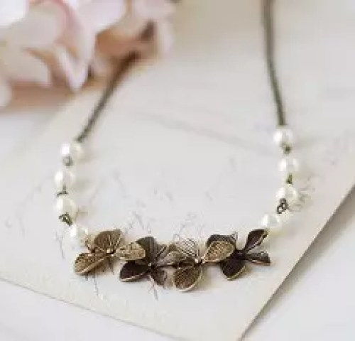 Brass Orchid Necklace