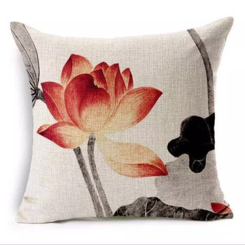Vivid Chinese Painting Lotus Flower Square Throw Pillow Covers