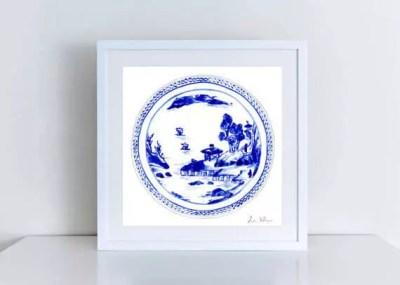 Blue White China Plate