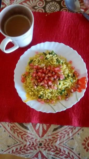 breakfast : poha and chai
