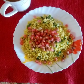 breakfast : poha and chai