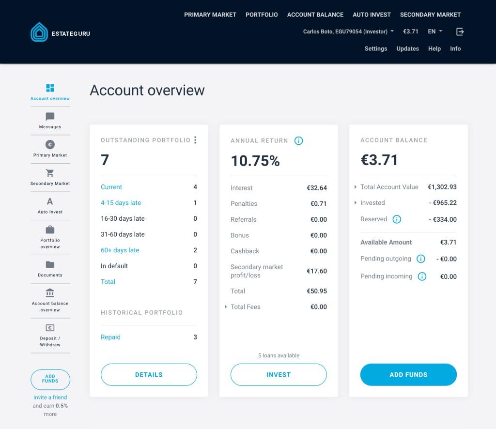 Estateguru SavingsForFreedom Portfolio July 2020