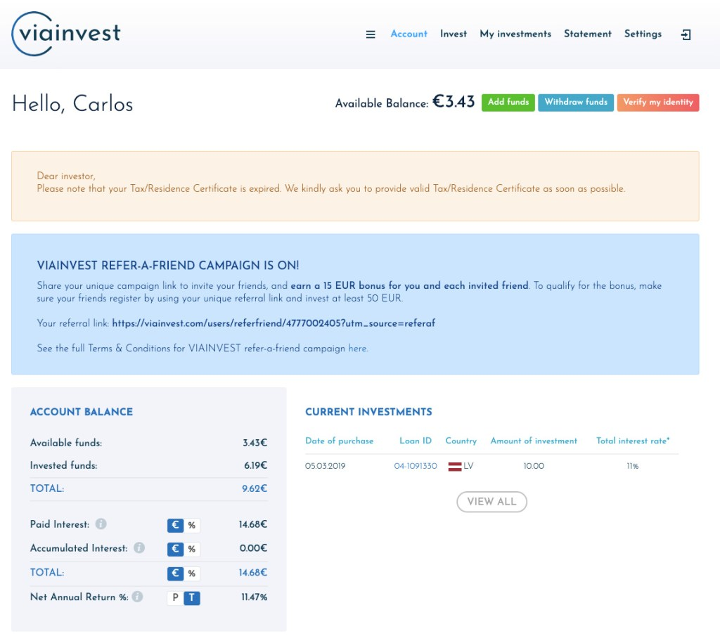 ViaInvest Update SavingsForFreedom September 2020