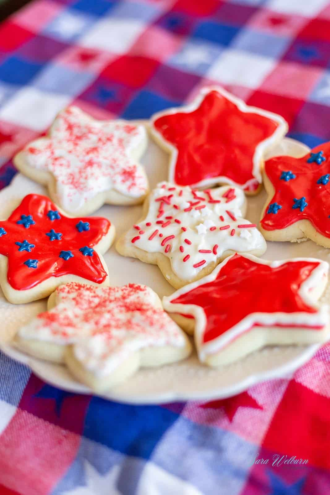 4th of July Sour Cream Sugar Cookies with Cream Cheese Frosting