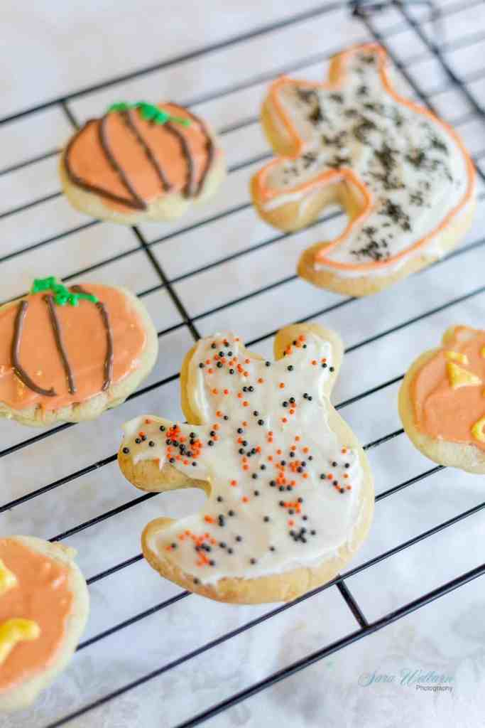 Halloween Sour Cream Sugar Cookies with Cream Cheese Frosting