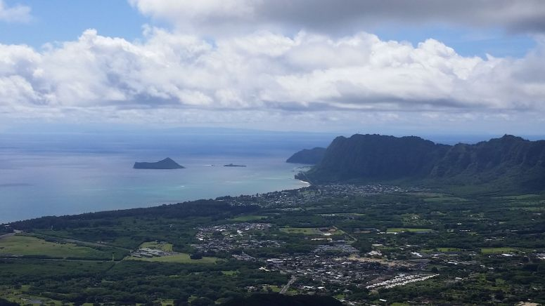 View of Maui and Molokai from Olomana Peak on Oahu Hawaii