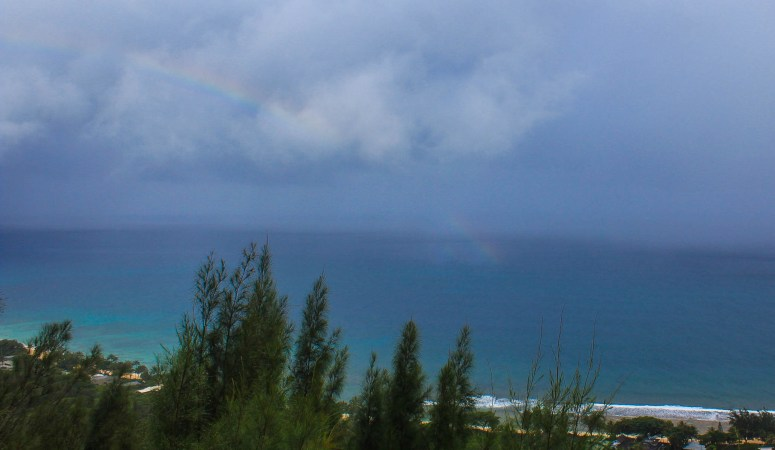 hiking to the ehukai pillbox rainbow over the ocean view at ehukai pillbox hike easy ehukai pillbox hike north shore oahu hawaii
