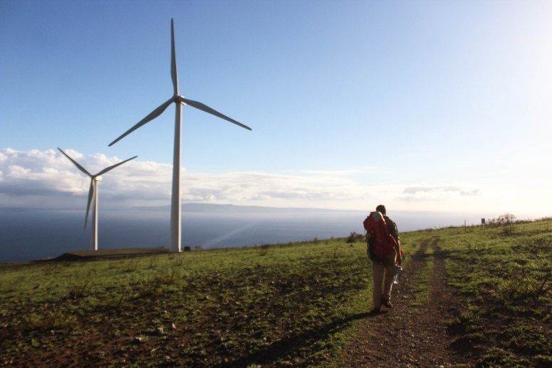Lahaina Pali Trail intersecting with wind turbines on Maui