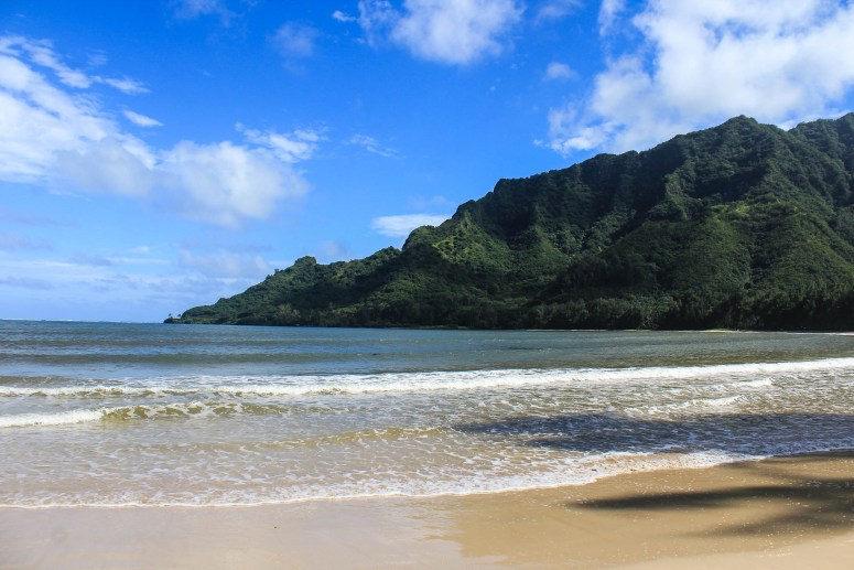 View of Pu'u Manamana from Kahana Bay