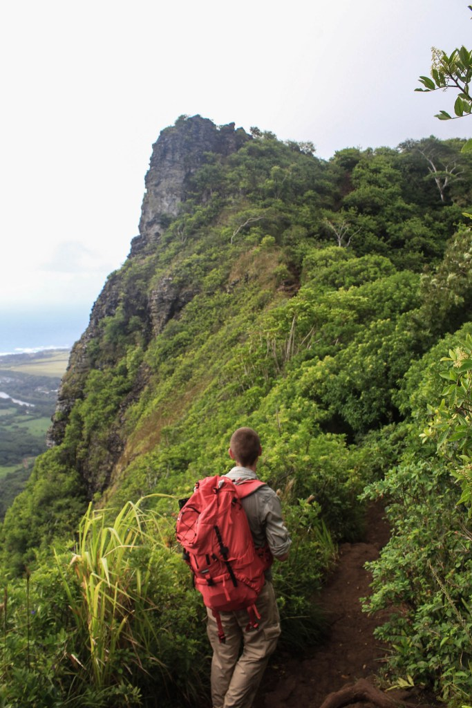 Hiking Nounou Mountain, aka Sleeping Giant, on the island of Kauai.