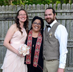 Johnette, Claire and Thomas on Johnette and Thomas's wedding day