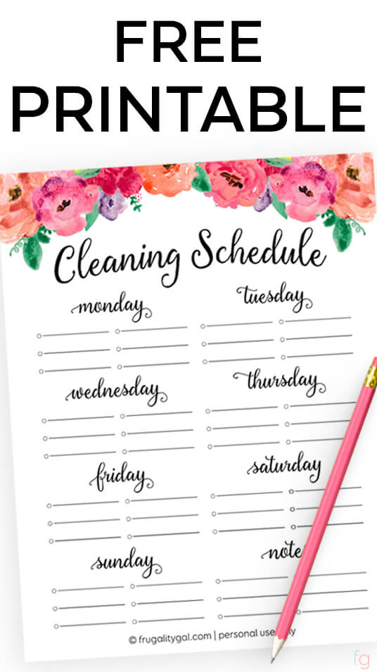 free cleaning schedule printable cleaning checklist