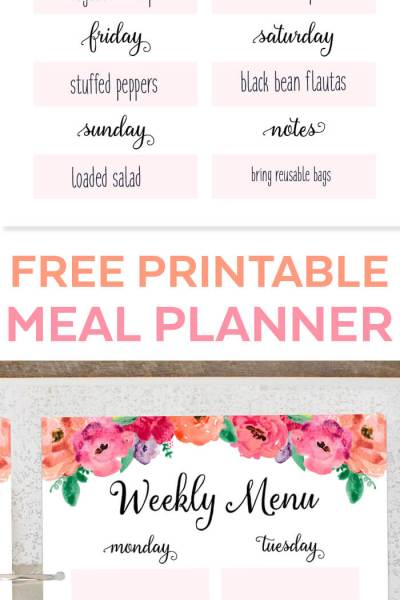 Weekly Meal Planner Time Management Tip Free Printable