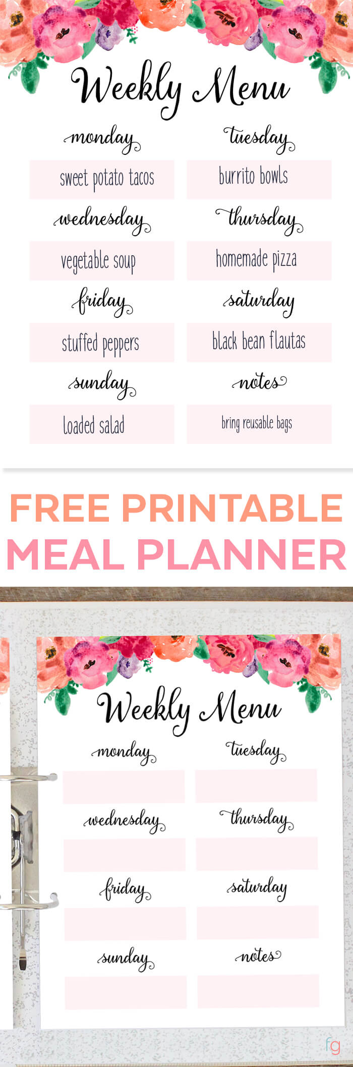 free printable weekly meal planner time management tip