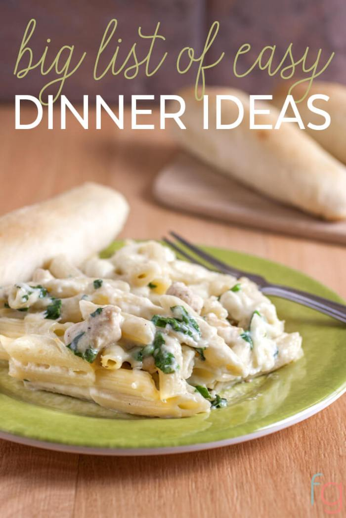 Big List of Easy Dinner Ideas