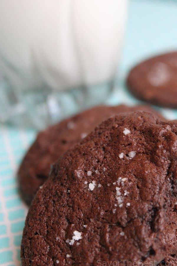 salted chocolate fudge cookies