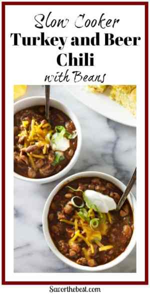 The zesty spices are complimented by the maltiness of beer in this slow cooker turkey and beer chili with beans.