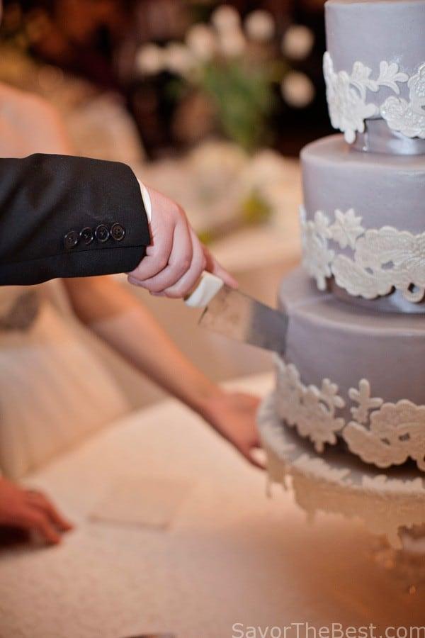 Lace appliqué wedding cake design