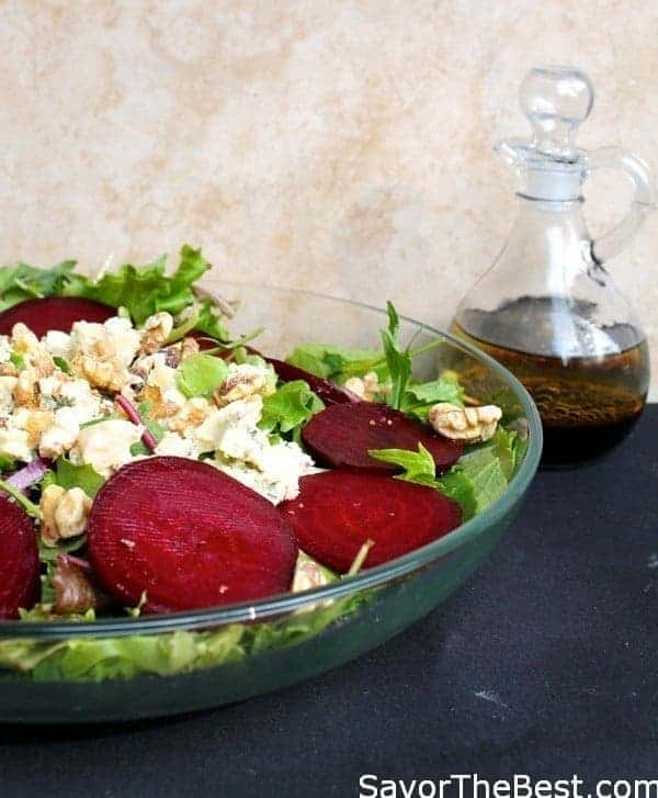 Roasted Beets and Blue Cheese Salad with Walnuts and Balsamic Vinaigrette