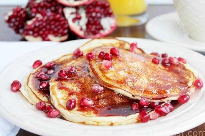 ricotta pancakes with pomegranate syrup