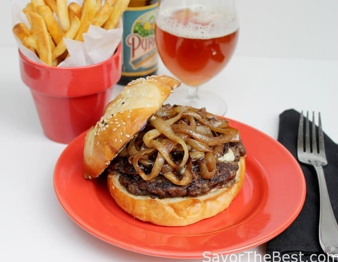 The sweetness of caramelized onions together with blue cheese and a grilled beef patty make a fantastic burger.