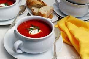 Roasted Red Pepper Soup with Goat Cheese Cream