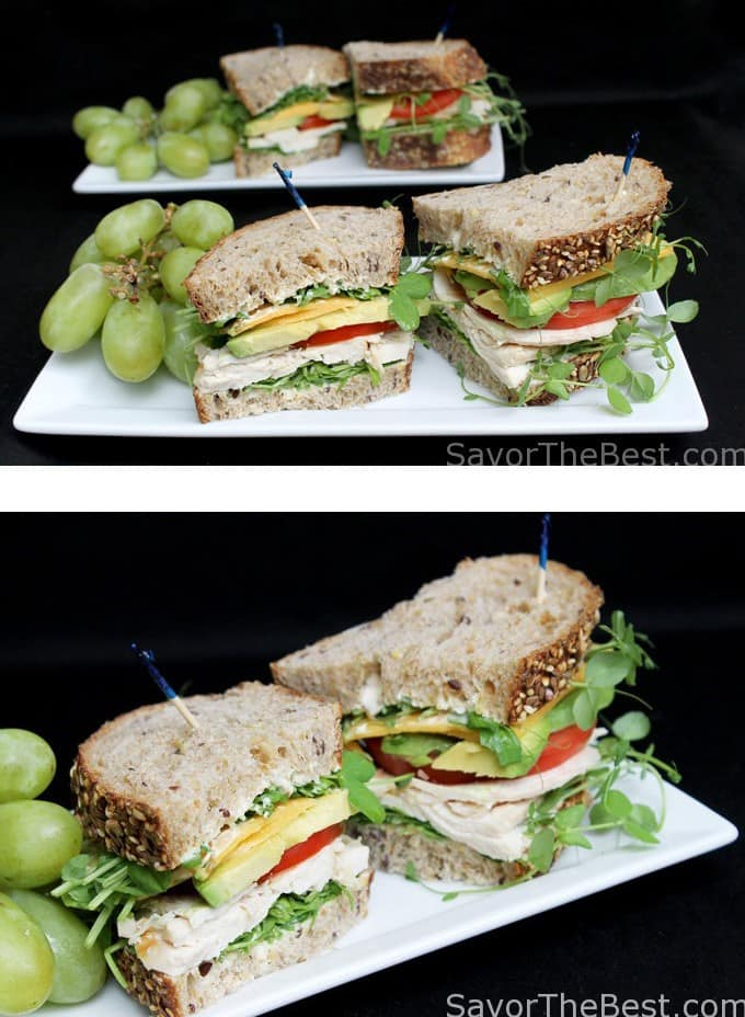 pea shoots and chicken sandwich
