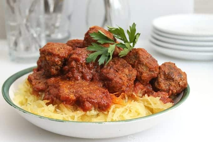 Spaghetti Squash with Turkey Meatballs - Savor the Best