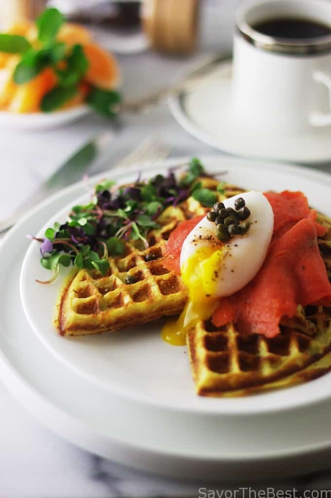 Sweet Potato Waffles, Poached Duck Eggs and Smoked Salmon