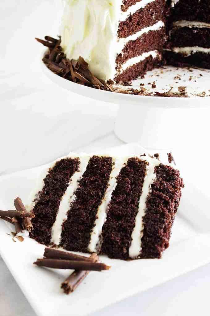 Intense chocolate cake with cream cheese frosting savor for Chocolate fudge cream cheese frosting