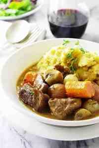 lamb stew with garlic polenta