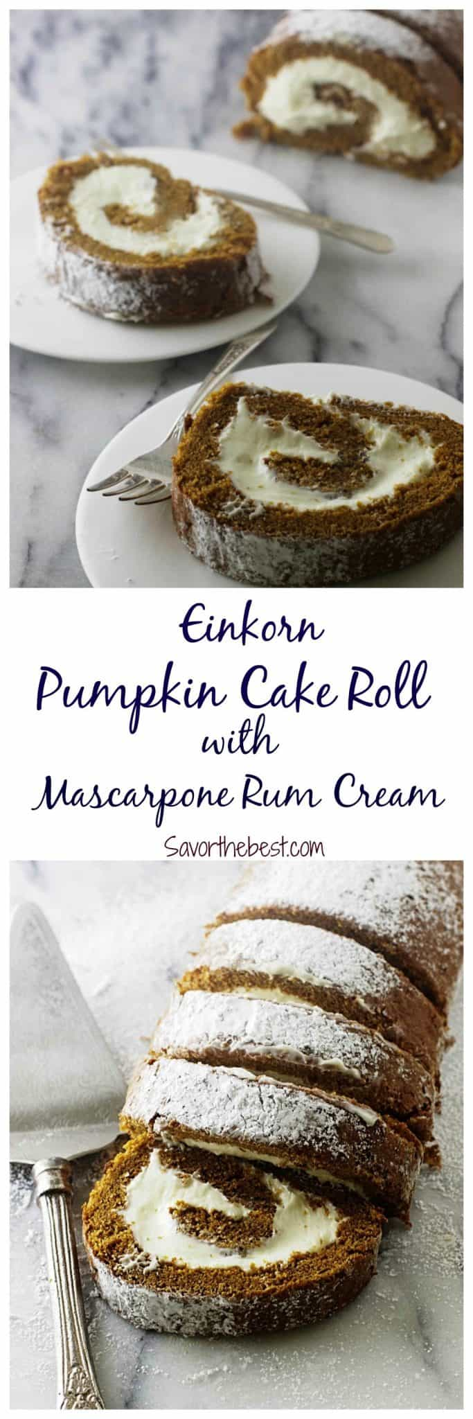 pumpkin cake roll with mascarpone rum cream