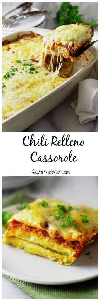 An easy and fast chili relleno casserole that is creamy and delicious.