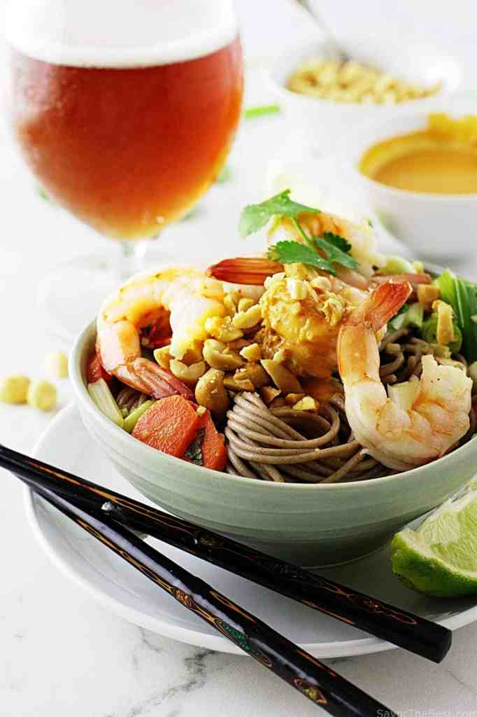 Soba Noodles, Shrimp and Spicy Peanut Sauce