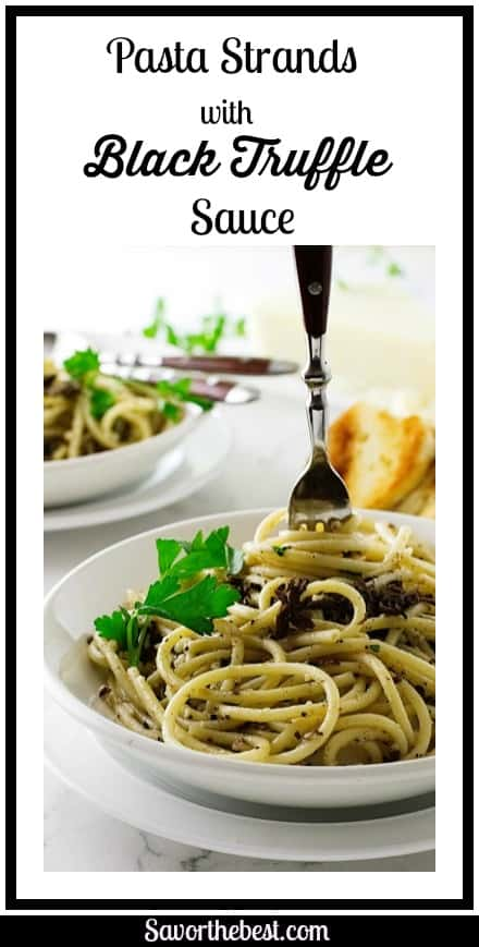 Black truffle pasta. The delicate flavor of pasta strands with black truffle sauce.