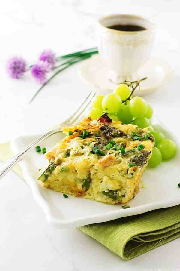 Asparagus-Ham and Gouda Breakfast Strata
