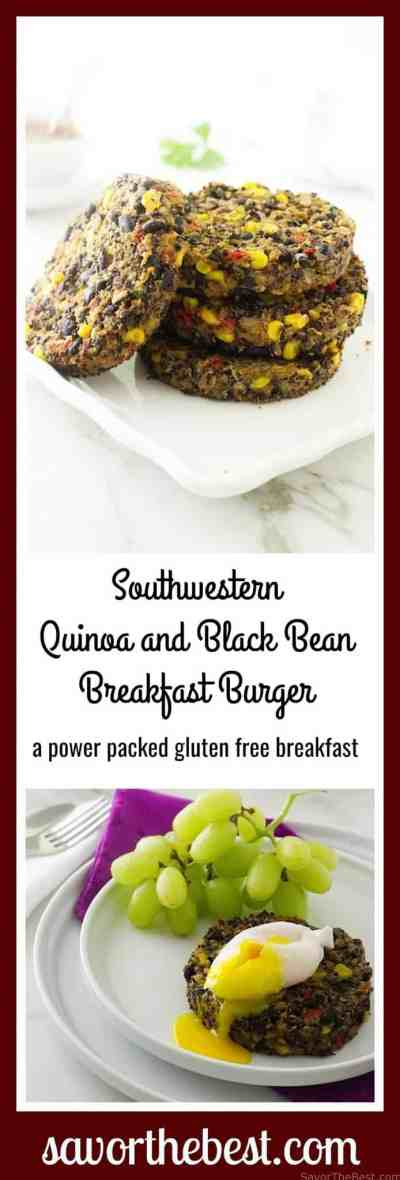 Southwestern Quinoa-Black Bean Breakfast Burger Recipe. A #glutenfree and #vegetarian breakfast. These black bean burgers are easy and quick to make.