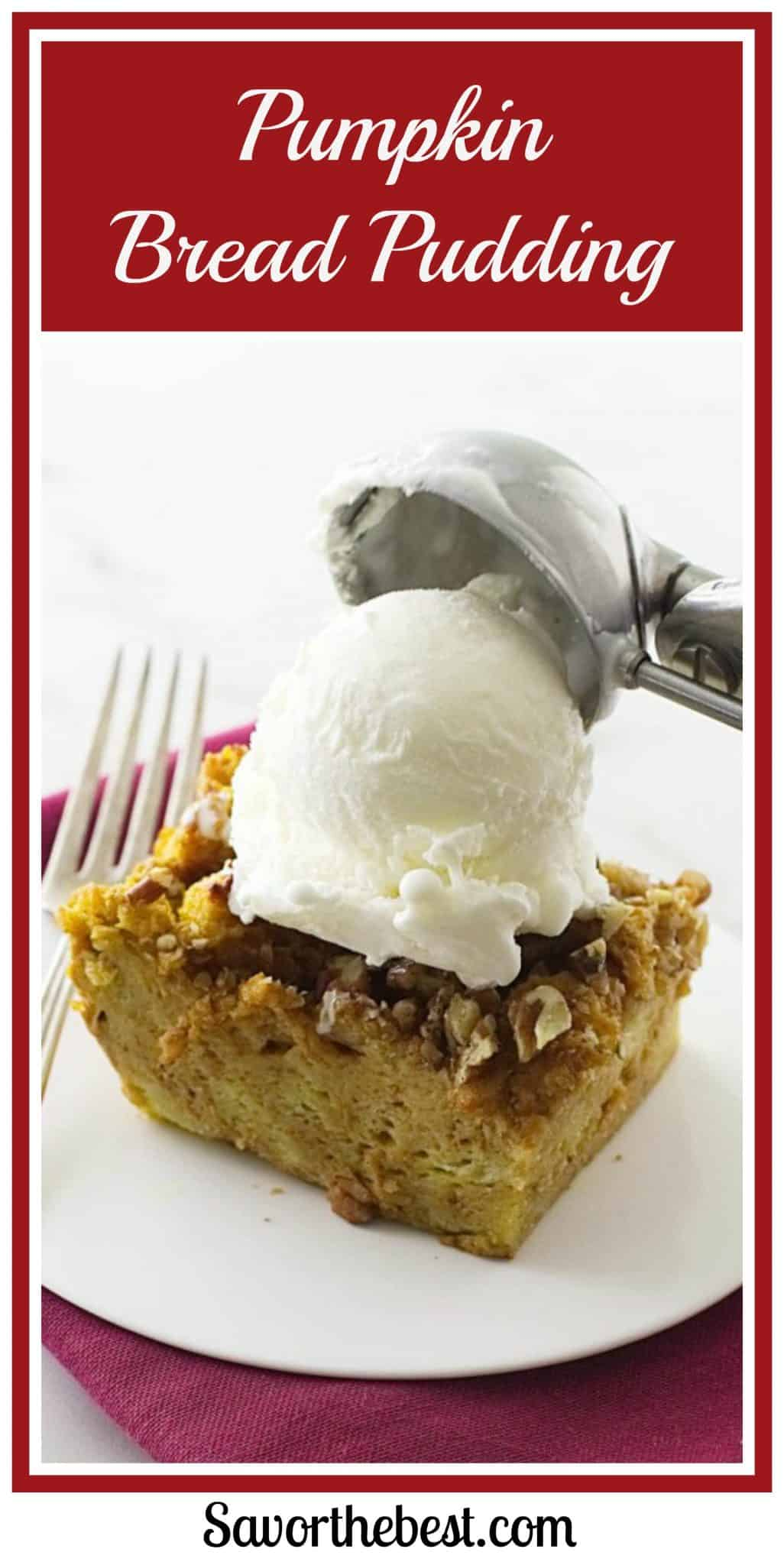 Easy Pumpkin bread pudding recipe with a pumpkin custard filling. Makes an amazing holiday dessert for Thanksgiving