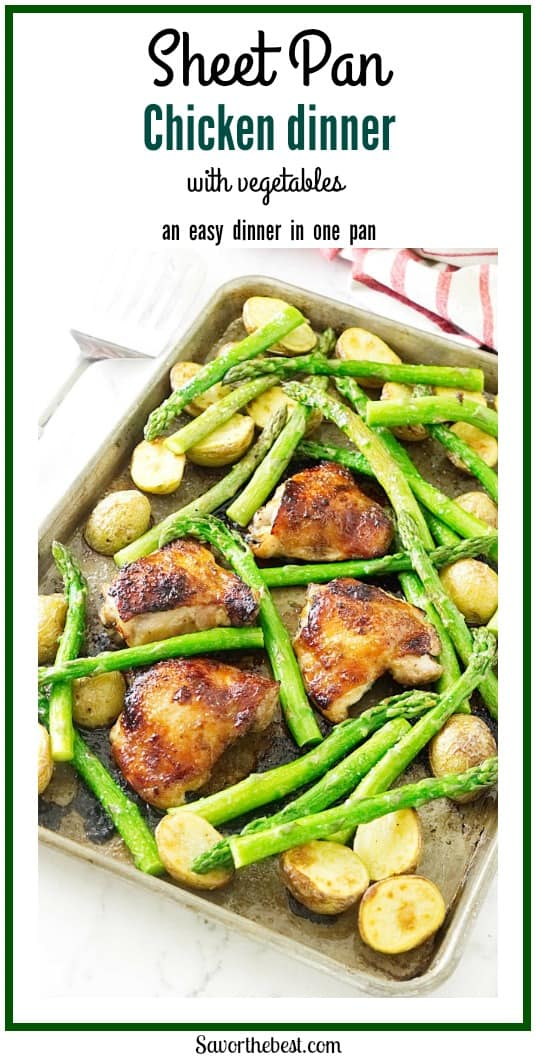 easy Sheet Pan Chicken Dinner! Roasted chicken thighs, small Yukon potatoes and tender fresh asparagus. Dinner on the table in thirty-minutes flat