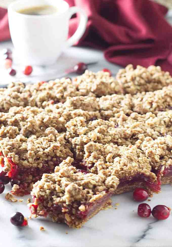Sprouted wheat fresh cranberry bars made with sprouted wheat flour and fresh cranberries