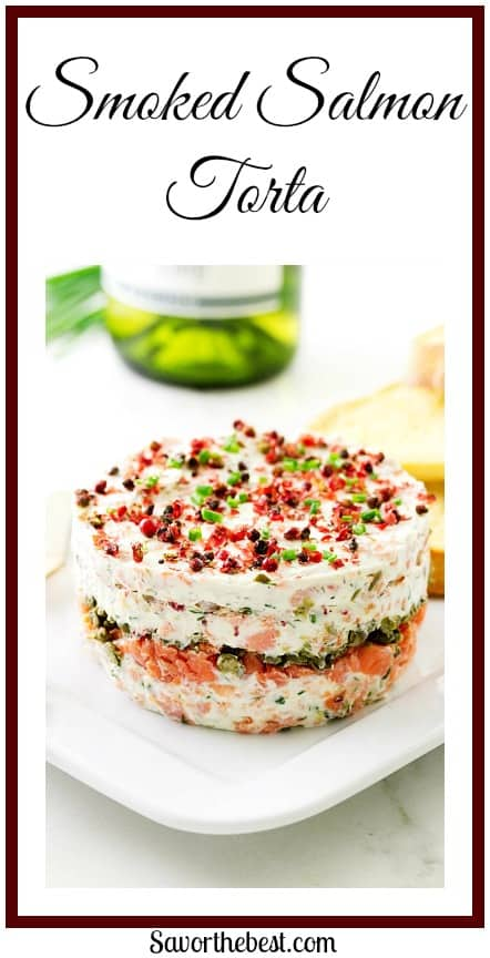 A delicious blend of Atlantic smoked salmon, cream cheese, fresh herbs and capers.  Topped with pink peppercorns and chives.
