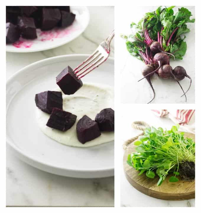 Watercress and roasted beet salad