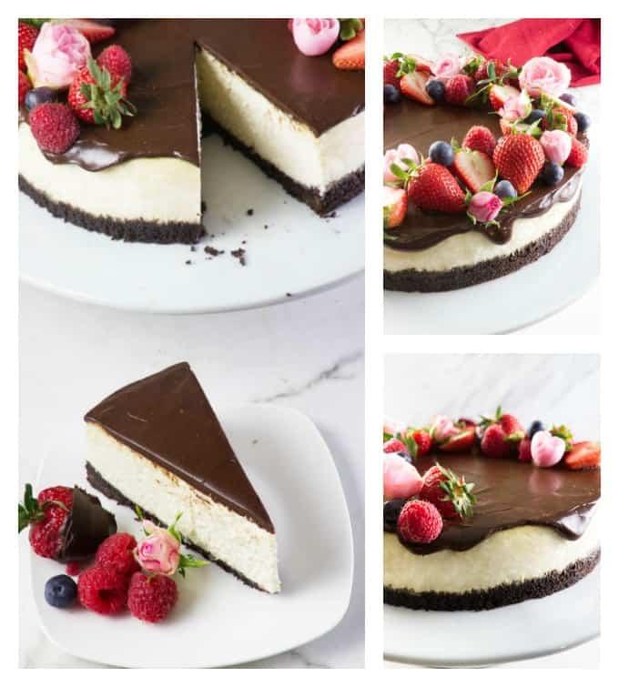 Bourbon vanilla cheesecake collage
