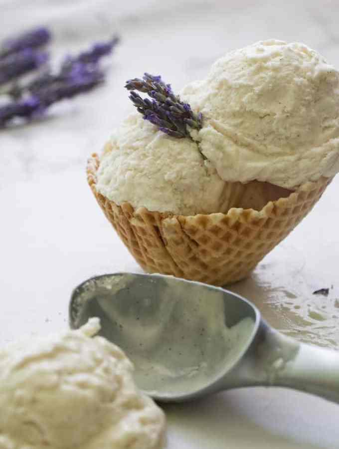 No Churn Vanilla Lavender Ice Cream
