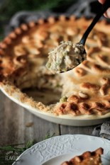spoonful of chicken and mushroom pie