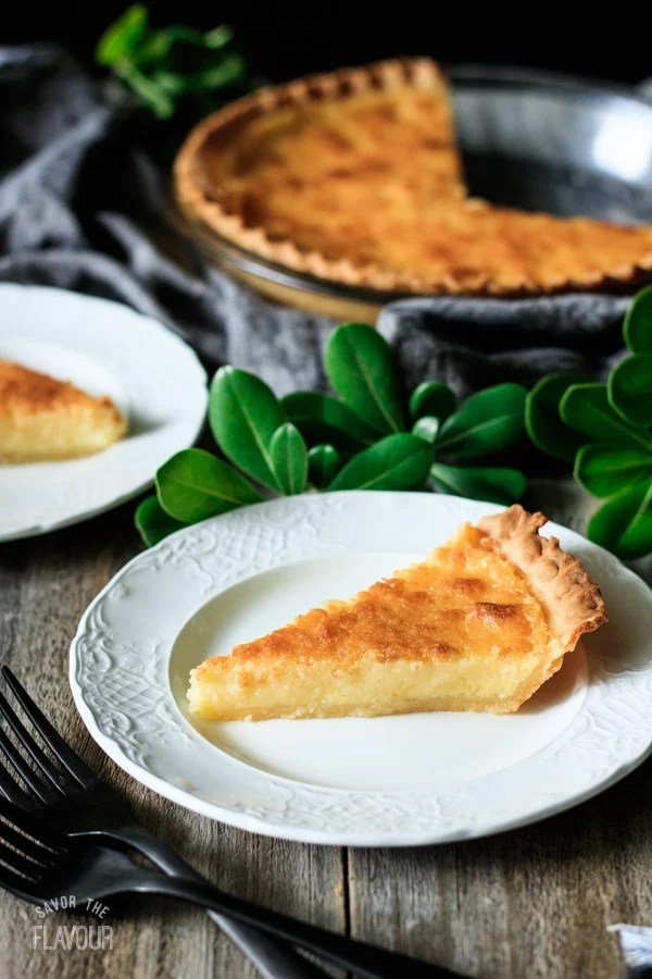slice of buttermilk pie on a white plate