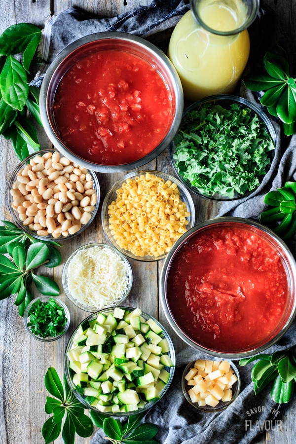 some ingredients for minestrone soup